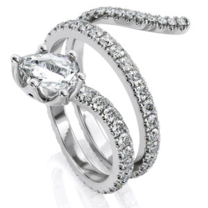1.20 Carat Pear shape & Round Cut Natural Anniversary H VS2 Diamond Band Snake Ring in 18k Solid White Gold