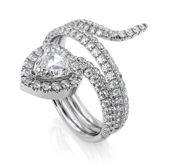1.55 Carat G SI1 Trillion & Round Cut Anniversary Diamond Band Snake Ring in 18k Solid White Gold